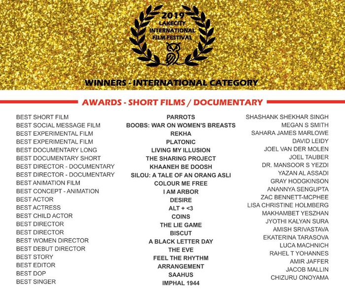"LakeCity International Film Festival (Noida, India) awards The Sharing Project ""Best International Documentary Short."""
