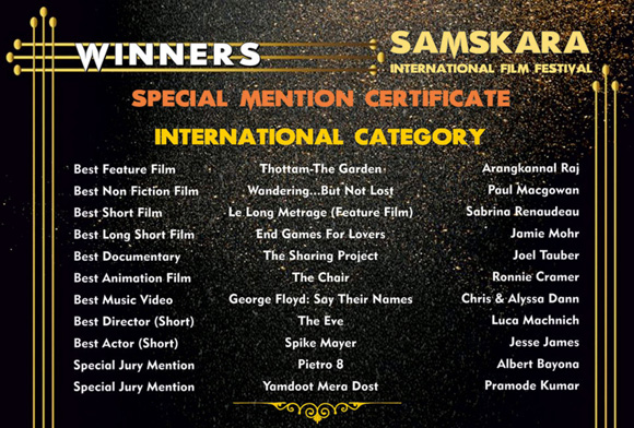 Joel Tauber's film, The Sharing Project, screened at the Samskara International Film Festival in Dehradun, India on March 21, 2021 and was awarded Special Mention in the International Documentary Film category.